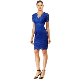 Calvin Klein V-Neck Lace Sheath Cocktail Day Dress