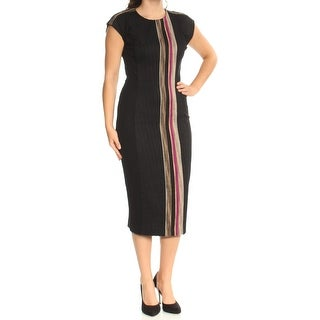 Womens Black Beige Cap Sleeve TeaLength Body Con Wear To Work Dress Size: 6