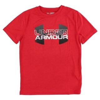 Under Armour Boys Big Logo Hybrid T Shirt Red - Red/Grey/White - M