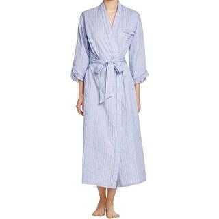 Eileen West Womens Long Robe Cotton Striped - S/M