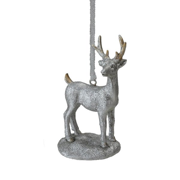 "3.5"" Silver Glittered Snow Deer Decorative Christmas Ornament"