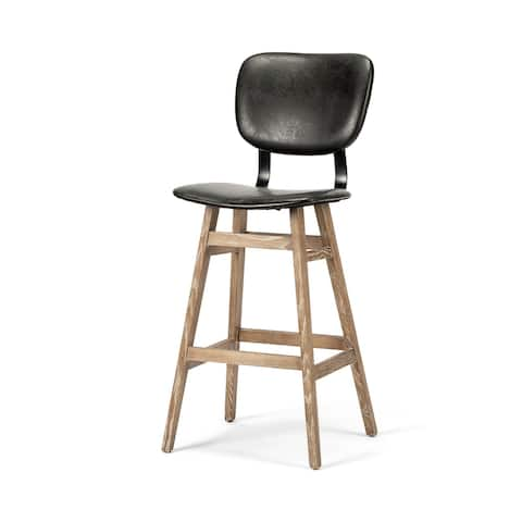 "Mercana Haden 30.25"" Seat Height Black Upholstered Seat Brown Wood Frame Stool"
