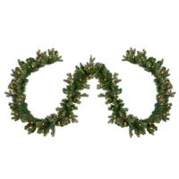 "9' x 12"" Pre-Lit Savannah Spruce Artificial Christmas Garland - Clear Lights - green"