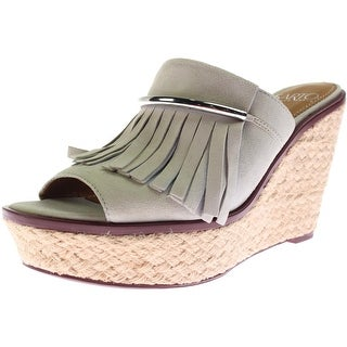 Franco Sarto Womens Candace Suede Fringe Wedge Sandals - 9 medium (b,m)