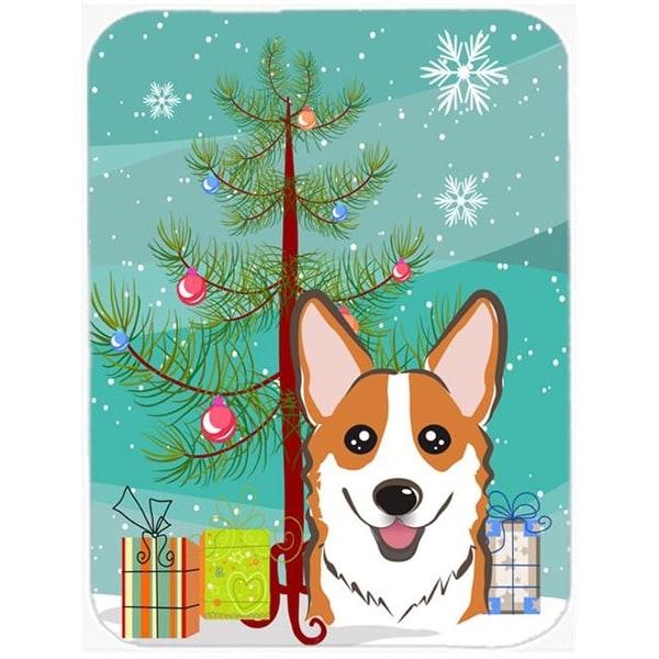 christmas tree and red corgi glass cutting board large - Christmas Tree Shop Pembroke