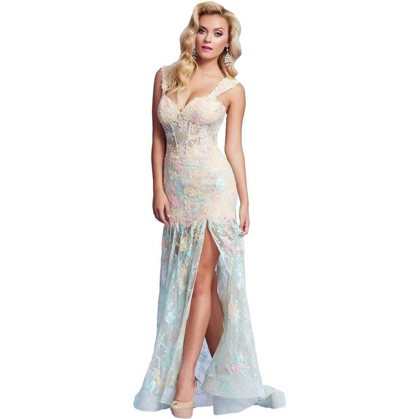 Mac Duggal Womens Formal Dress Lace Boning