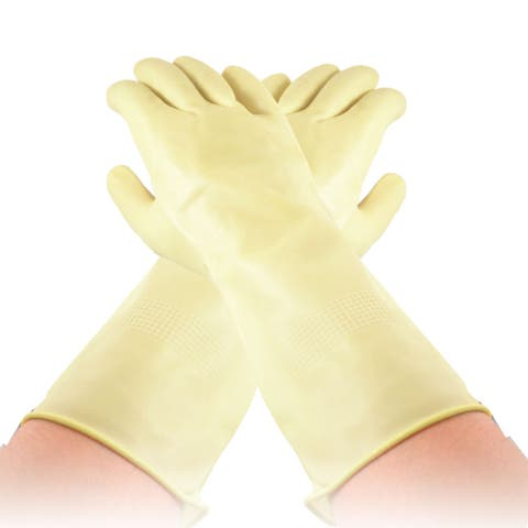 Unique Bargains Houseworking Light Yellow Middle Size Latex Long Washing Cleaning Gloves Pair