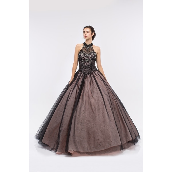 Shop Embellished High Neck Halter Ball Gown - Free Shipping Today ...