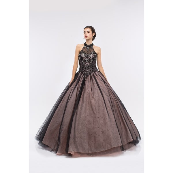 Shop Embellished High Neck Halter Ball Gown - Free Shipping Today -  Overstock - 16701887 165be2b1619d