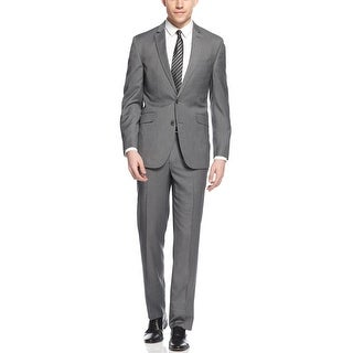 Unlisted By Kenneth Cole Grey Pindot Suit 40 Long 40L Flat Front Pants 33 Waist