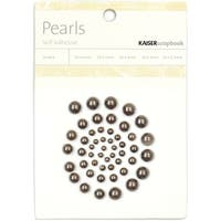 Self-Adhesive Pearls 50/Pkg-Pewter - gray
