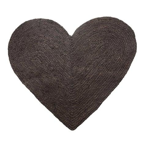 "Braided Jute & Cotton Heart Shaped Rug, Black - 35""L x 34""H"