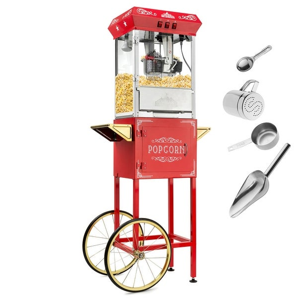 Vintage Style Popcorn Machine Maker Popper w/ Cart and 10-Ounce Kettle. Opens flyout.