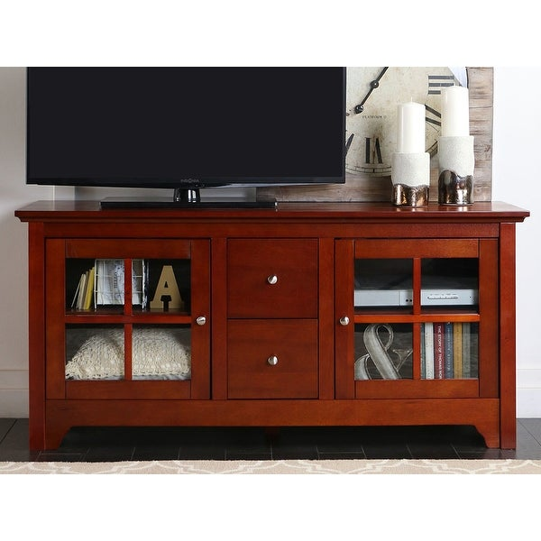 Shop We Furniture 52 Wood Tv Media Stand Storage Console Brown