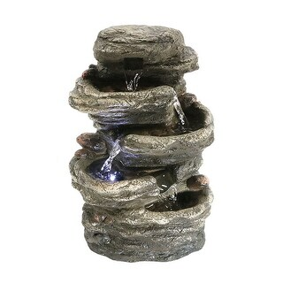 Sunnydaze Flat Rock 4-Tier Tabletop Water Fountain with LED Light, 7 Inches Wide x 11 Inch Tall