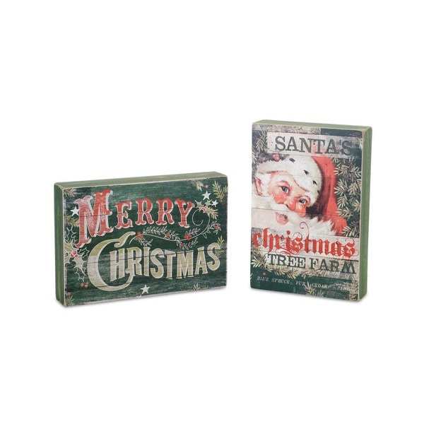 """Pack of 6 Green and Red Festive """"Merry Christmas"""" and Santa Hanging or Table Top Plaques 7.75"""""""