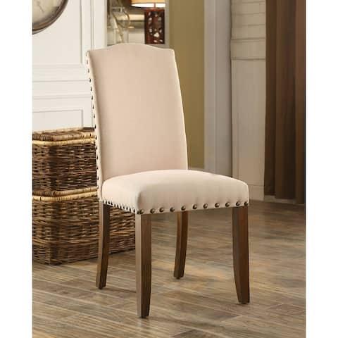 Furniture of America Serg Rustic Walnut Dining Chairs (Set of 2)