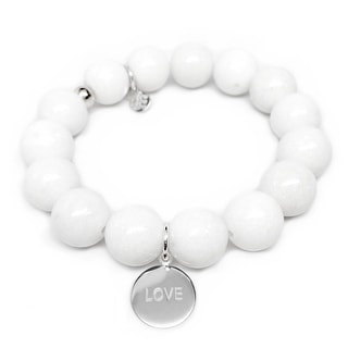 "White Jade Love Silver Disc Charm Brook 7"" Bracelet"