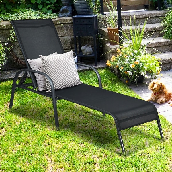 Goplus Patio Chaise Lounge Outdoor Folding Recliner Chair w/
