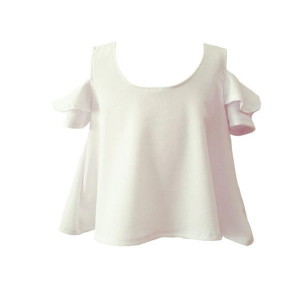 53eeeda6ecf Shop Girls White Cold Shoulder Ruffle Loose Fit Summer Blouse - Free  Shipping On Orders Over  45 - Overstock.com - 21335434