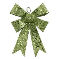 "5"" Lime Green Sequin and Glitter Bow Christmas Ornament"