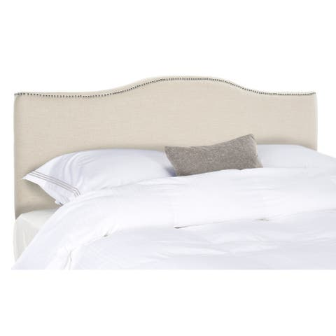 SAFAVIEH Jeneva King-size Off-white Linen Camelback Headboard