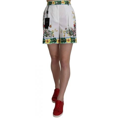 Dolce & Gabbana Majolica Rose White Floral Print Cotton Women's Shorts