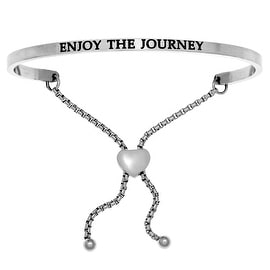 "Intuitions ""Enjoy the Journey"" Stainless Steel Adjustable Bolo Friendship Bracelet"