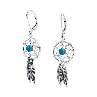 Bling Jewelry 925 Silver Synthetic Turquoise Dream Catcher Dangle Earrings - Blue