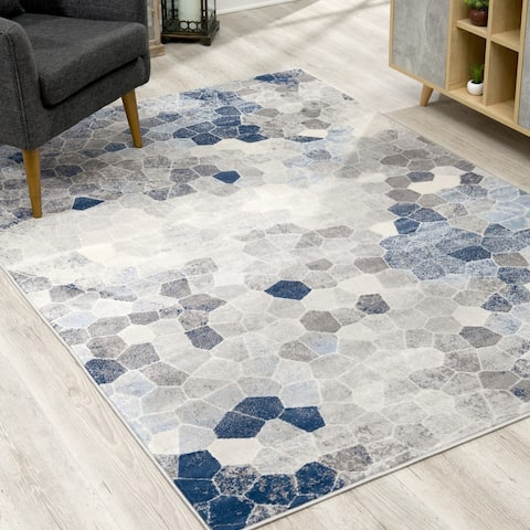 Rug Branch Havana Modern Abstract Area Rug and Runner, Navy Blue/Grey