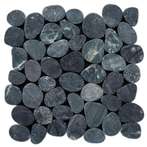"Miseno MT-S3 Sliced Pebble - 11-1/2"" x 11-1/2"" Pebble Floor and Wall Mosaic Tile"