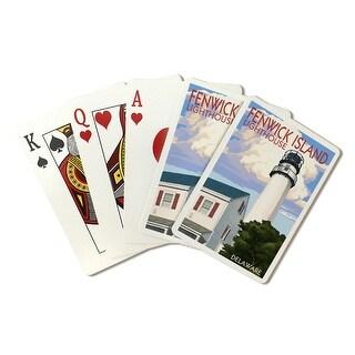 Fenwick Island, Delaware - Lighthouse - Lantern Press Artwork (Playing Card Deck - 52 Card Poker Size with Jokers)