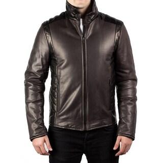 Prada Men's Motorcycle Soft Quilted Leather Zip Jacket Coat Dark Grey Black - 52
