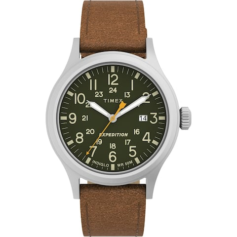 Timex Men's Expedition Scout 40mm Watch - Silver-Tone Case Green Dial with Brown Leather Strap