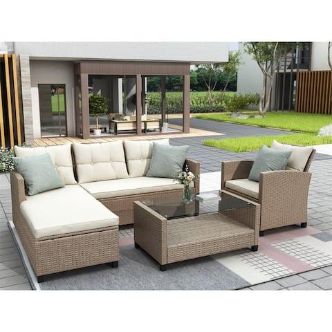 Durriya 4-piece Outdoor Wicker Sofa Set with Cushions