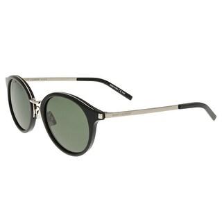 Saint Laurent SL 57-001 Black/Silver Oval Sunglasses