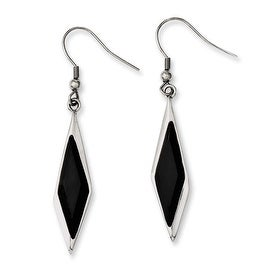 Chisel Stainless Steel Black Glass Polished Fancy Dangle Earrings