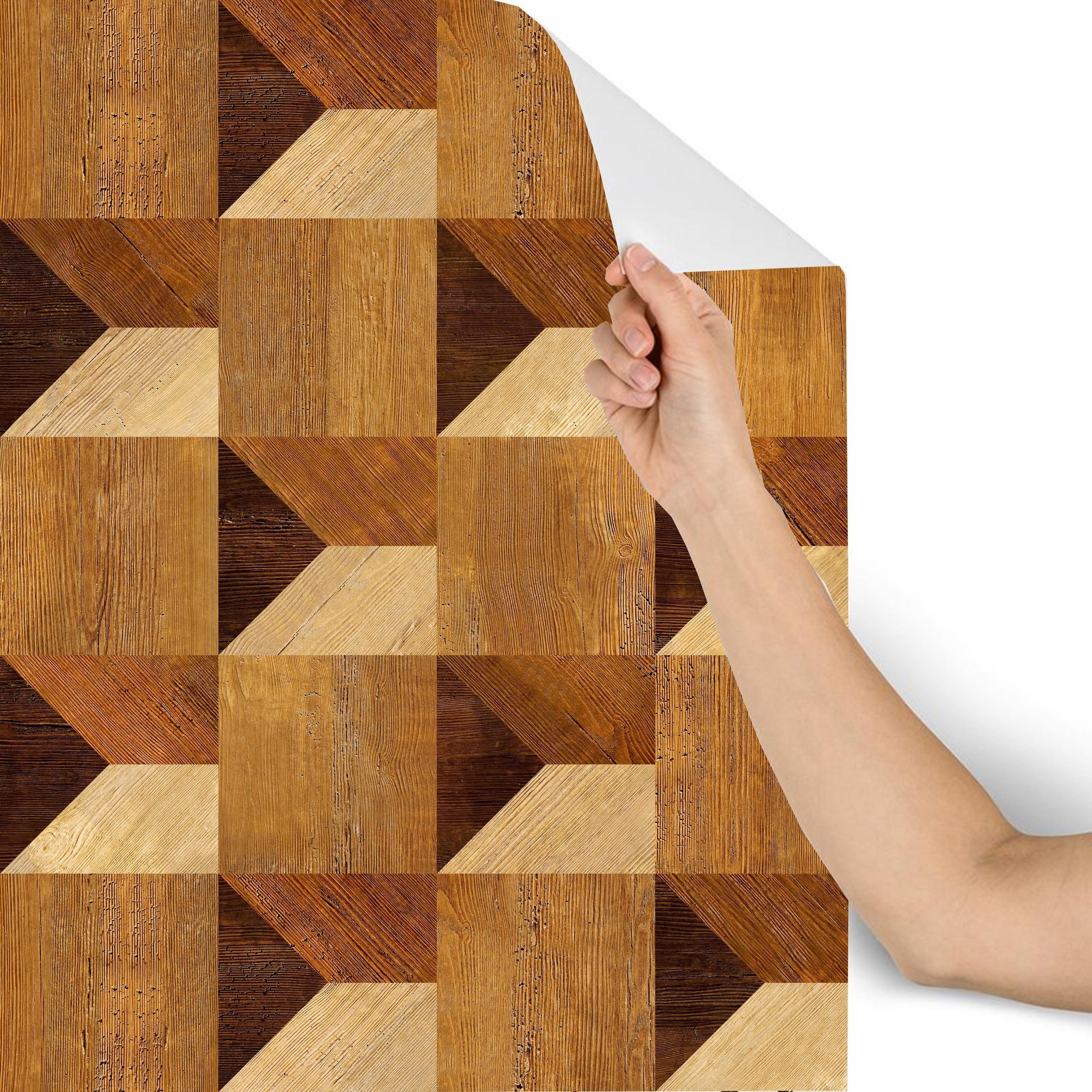 3D Decorative wood paneling Removable Wallpaper
