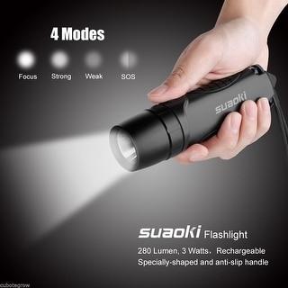 Suaoki TC7 3W 280LM IPX6 LED Flashlight Torch Focus Light Cool White Lamp Black