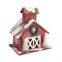 """Set of 2 Frosted Red Barn Christmas Winter Decoration 12"""" - WHITE"""