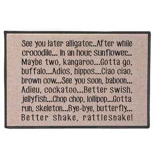 See You Later Alligator Doormat - 100% Olefin Welcome Rug - 27 in. x 18 in.