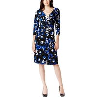 Nine West Womens Wear to Work Dress Surplice Ruched