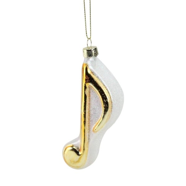 "4.5"" Gold and Glittery White Musical Eighth Note Glass Christmas Ornament"