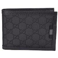 Gucci 217044 Men's Black Nylon GG Web Tab Trifold Passcase ID Wallet