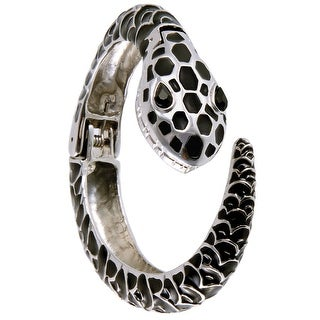Women's Fashion Snake Shape Bangle Bracelet Watch - Silver/Black