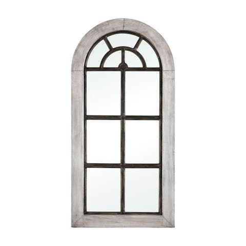 Modern Farmhouse Arched Window Pane Style Wall Mirror Made Of German Silver Mirror Wood In Antique