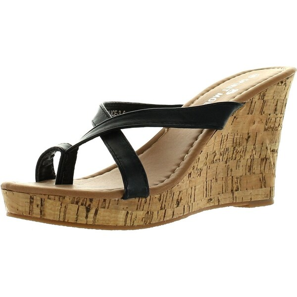 Spirit Moda Alice-3 Women Lucky Peep Toe Platform Wedge Sandal - Cognac - 7.5 b(m) us