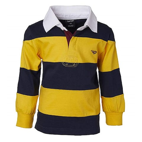 Sportoli Boys 100% Cotton Wide Striped Long Sleeve Polo Rugby Shirt, Gold, 2T