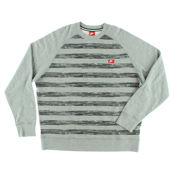 Nike Mens AW77 Speed Stripe Crew Sweatshirt Grey