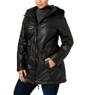 Calvin Klein Womens Plus Anorak Jacket Water Resistant Faux Fur Trim